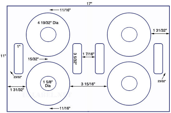US8063 - 4 9/16'' Diameter CD/DVD - 4 up on a 11'' x 17'' sheet - 4,000 labels.