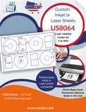 US8064 - 4 5/8'' CD/DVD Combo Set - 4 up label on a 11'' x 17'' laser sheet