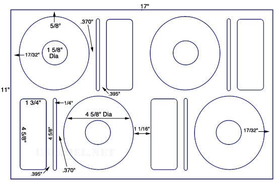 US8065 - 4 5/8'' CD/DVD Diam. Kit - 4 up on a 11'' x 17'' sheet - 4,000 labels.