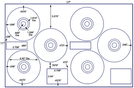 US8081 - 4.45'' Diameter - 6 up on a 11'' x 17'' sheet - 6,000 labels.