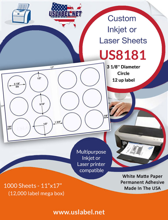 US8181 - 3 1/8'' Diam. circle - 12 up on a 11'' x 17'' laser sheet