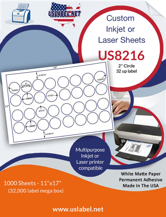 US8216- 2'' Circle label 32 up on a 11'' x 17'' laser sheet.