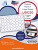 US8220 - 2'' Circle label 40 up on a 11'' x 17'' laser sheet. - uslabel.net - The Label Resource Center