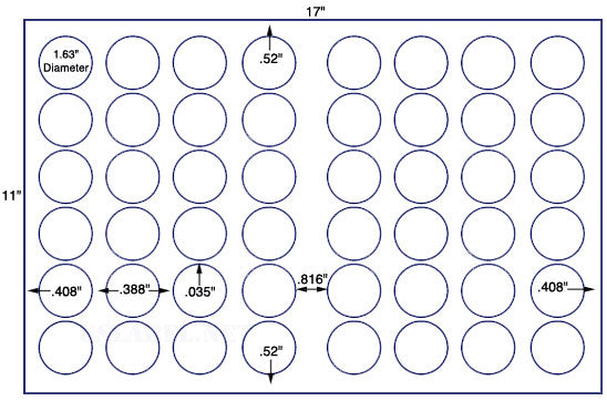 US8260 - 48 up - 1 5/8'' Circle on a 11'' x 17'' sheet 48,000 labels.