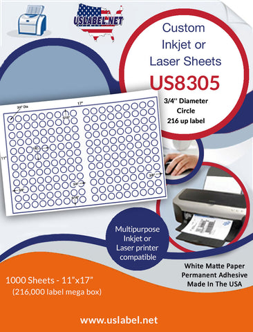 US8305 - 3/4'' Circle 116 up label on a 11'' x 17'' laser sheet.