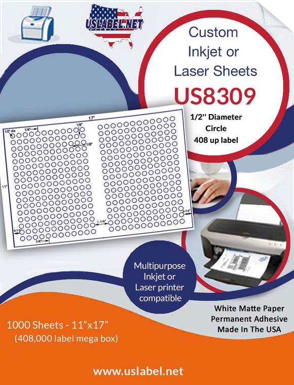 US8309 - 1/2'' Circle 408 up label on a 11'' x 17'' laser sheet