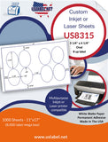 US8315 - 3 1/4'' x 4 1/4'' Oval label 8 up on a 11'' x 17'' laser sheet