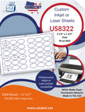 US8322 - 2.5'' x 1.5'' Oval 36 up label on a 11'' x 17'' laser sheet.