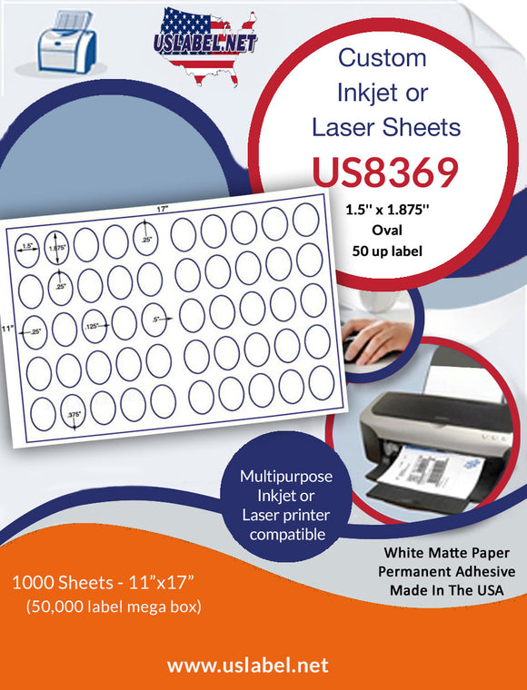 US8369 - 1.5'' x 1.875'' 50 up Oval label on a 11'' x 17'' laser sheet.