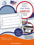 US8510 - 2 3/8'' x 15'' - 3 up label on a 11'' x 17'' laser sheet.