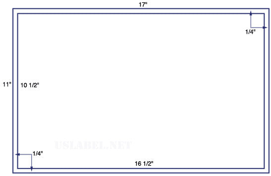 "US8510B - 1 up 10 1/2'' x 16 1/2'' - centered on a 11"" x 17"" Sheet - 1,000 labels"