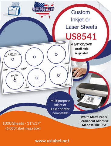 US8541- 6 up 4 5/8'' CD/DVD small hole on a 11'' x 17'' laser sheet