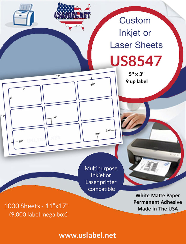 US8547 - 5'' x 3'' - 9 up label on 11'' x 17'' laser sheet - uslabel.net - The Label Resource Center
