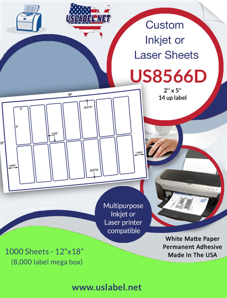 "US8566D -14 up - 5'' x 2"" on a 12'' x 18'' sheet. - uslabel.net - The Label Resource Center"
