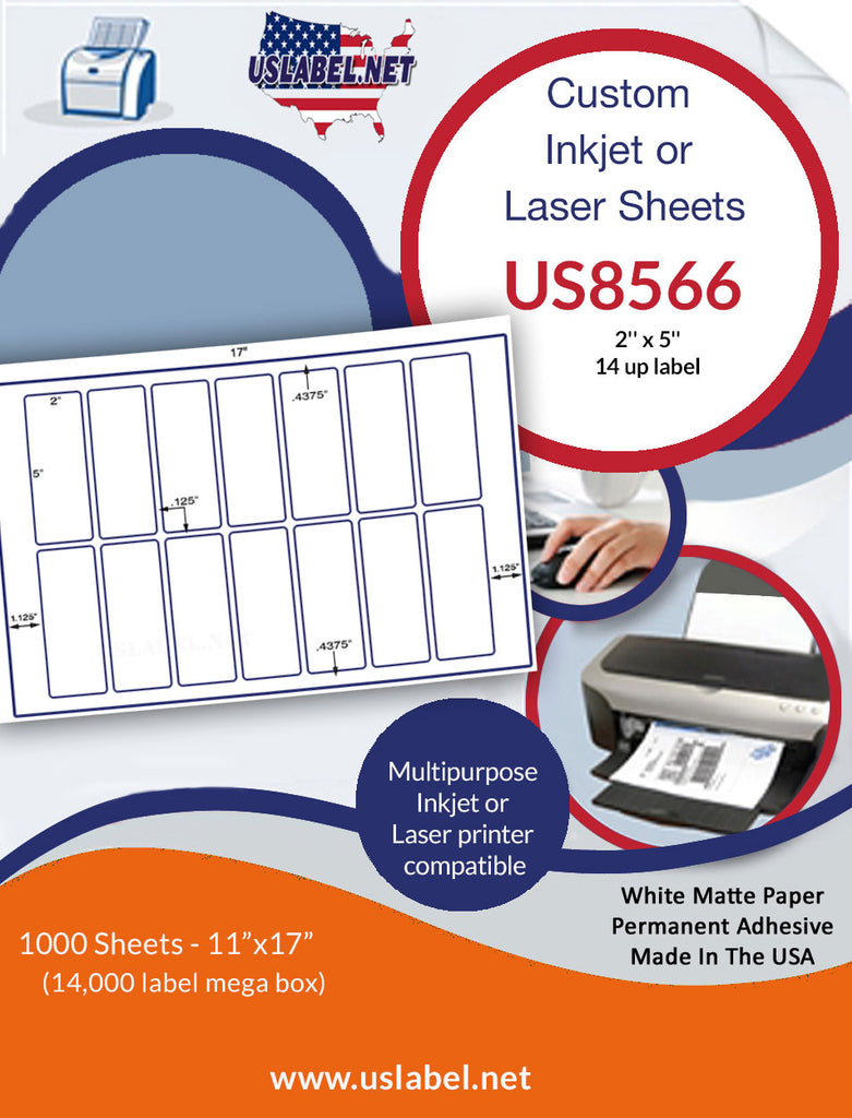 US8566 - 2'' x 5'' - 14 up label on a 11'' x 17'' laser Sheet - uslabel.net - The Label Resource Center