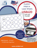 US8620 - 2 3/4'' circle 15 up label on 11'' x 17'' laser sheet