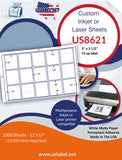 US8621 - 3'' x 3 1/2'' - 15 up label on a 11'' x 17'' laser Sheet