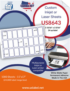 US8643 - 1 15/16'' x 3 5/16'' - 24 up labels on a 11'' x 17'' laser Sheet