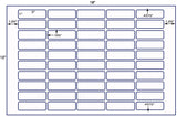 "US8668D- 50 up - 1"" x 3"" Rounded corners on a 12'' x 18'' label sheet."