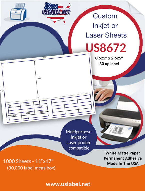US8672 - .625'' x 2.625'' - 30 labels on a 11'' x 17'' Sheet - 30,000 labels.