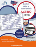 US8800 - 7/8'' x 1 1/4'' - 120 labels on a 11'' x 17'' Laser Sheet.