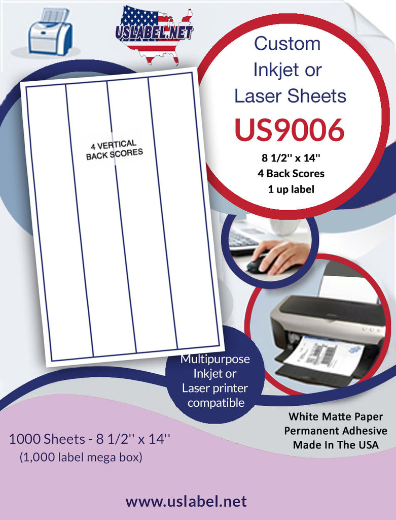 US9006 - 8 1/2'' x 14'' Full Sheet 1,000 Labels with 4 Back Scores. - uslabel.net - The Label Resource Center