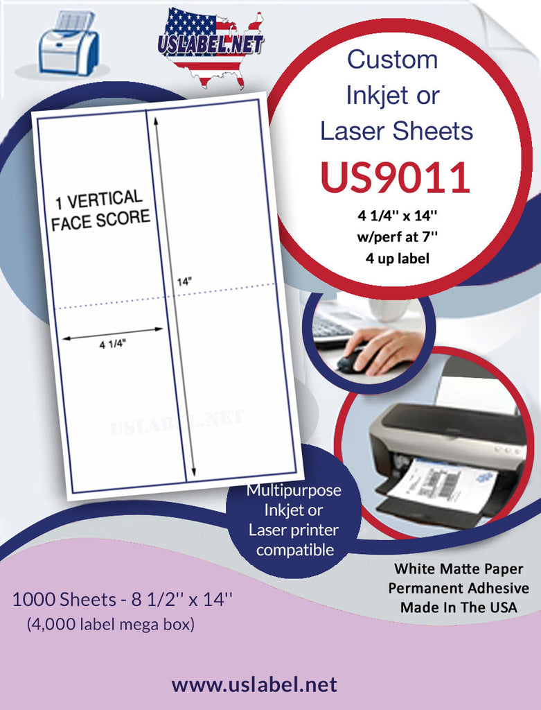 US9011 - 4 1/4'' x 14''-w/perf at 7''on a 8 1/2'' x 14'' sheet. - uslabel.net - The Label Resource Center