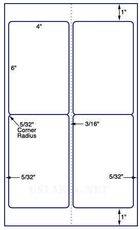 US9040 - 4 up 4'' x 6'' label on a 8 1/2'' x 14''  sheet - 4,000 Labels.