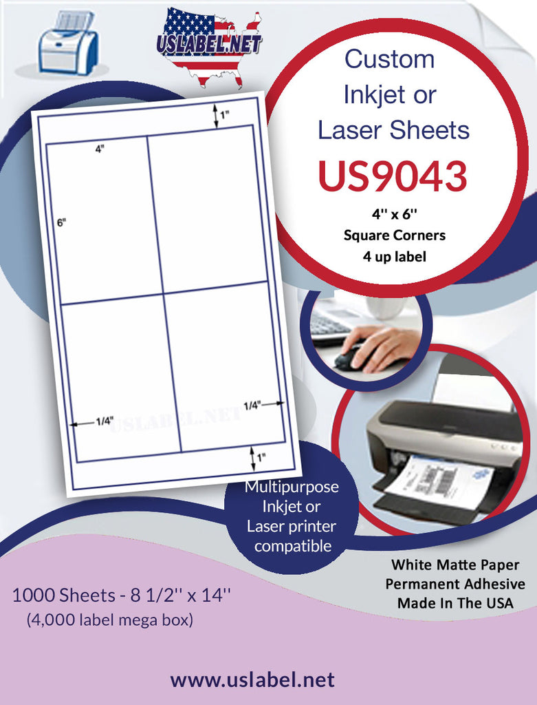 US9043 - 4'' x 6'' label with sq. Cor.on a 8 1/2'' x 14'' laser sheet