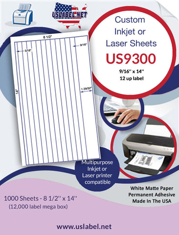 US9300 - 12 up 9/16'' x 14'' label on 8 1/2'' x 14'' sheet - 12,000 labels