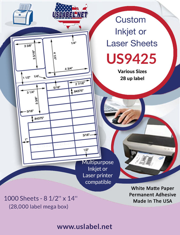 US9425 - 28 up Various Sizes on 8 1/2'' x 14'' laser sheet