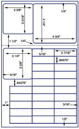US9425 - 28 up Various Sizes on 8 1/2'' x 14'' sheet - 28,000 Labels.