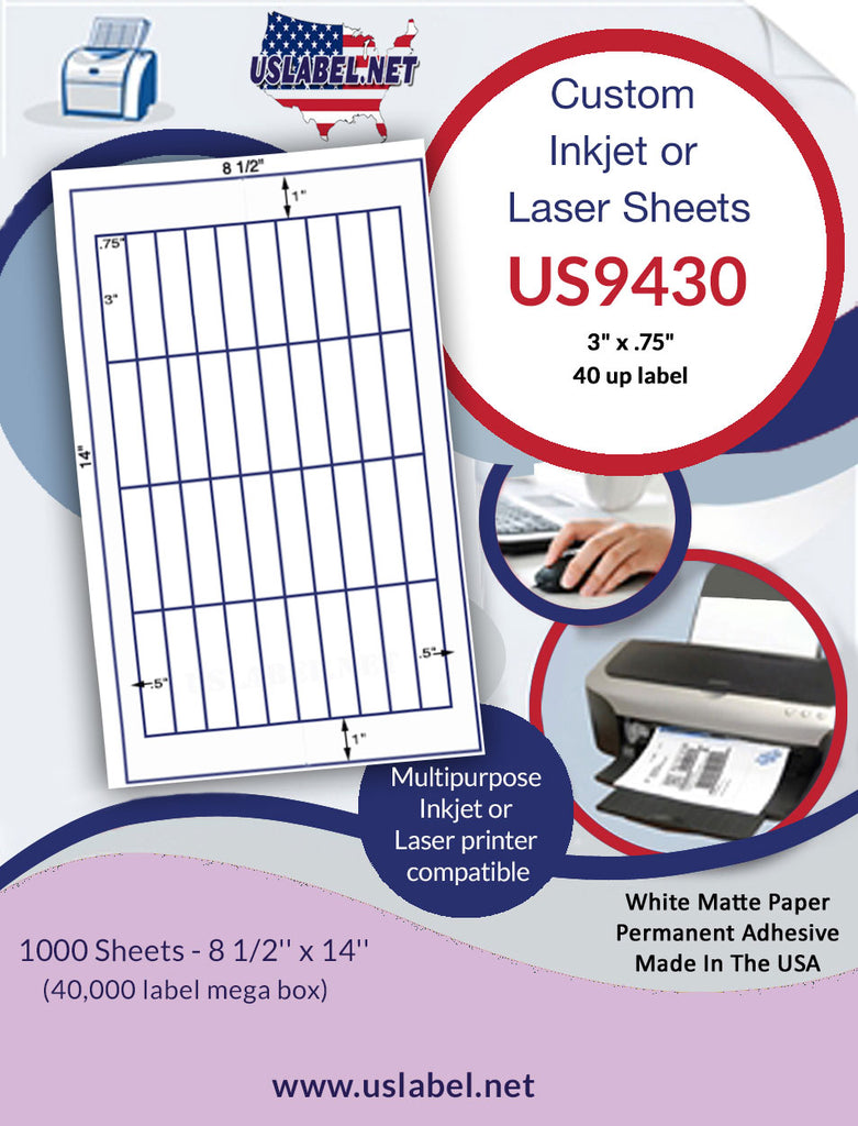 "US9430 - 40 up 3"" x .75"" on 8 1/2'' x 14'' inkjet/laser sheet"