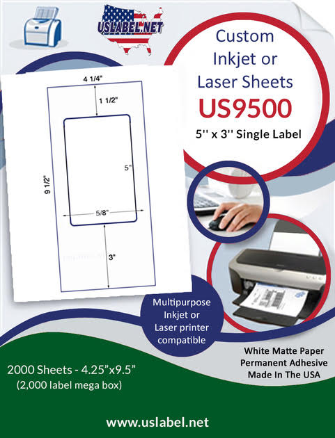 US9500 - 5'' x 3'' Single Label on 9 1/2'' x 4 1/4'' sheet - 2,000 Labels.