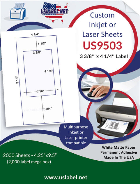 US9503 - 3 3/8'' x 4 1/4'' Label on 9 1/2'' x 4 1/4'' sheet - 2,000 sheets. - uslabel.net - The Label Resource Center