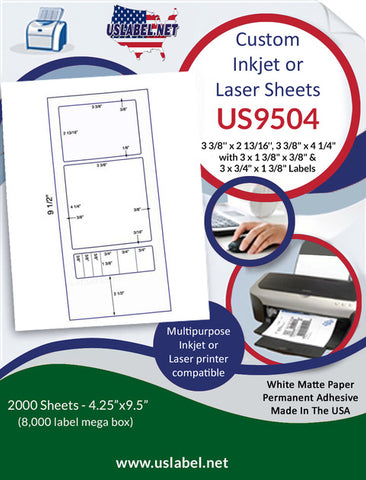 "US9504 - 3 3/8'' x 2 13/16'' & 3 3/8"" x 4 1/4"" Label on 9 1/2'' x 4 1/4'' sheet - 2,000 sheets."