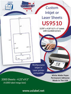 "US9510 - 3.375'' x 4.25'' and 3"" x 1"" Labels on 9 1/2'' x 4 1/4'' sheet - 2,000 sheets."