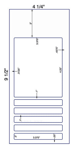 "US9511 - 3.375'' x 4.25'' and 5 x 3.375"" x .5"" Labels on 9 1/2'' x 4 1/4'' sheet - 2,000 sheets."
