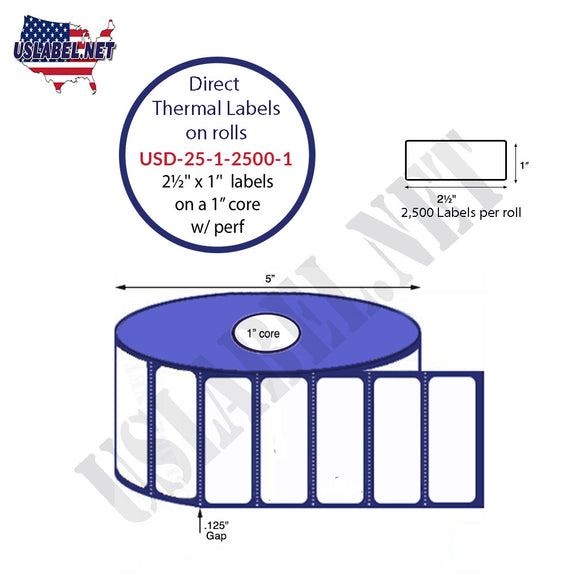 2.5'' x 1'' Direct Thermal Labels on a 1'' Core  - 5'' OD - uslabel.net  America's label store.