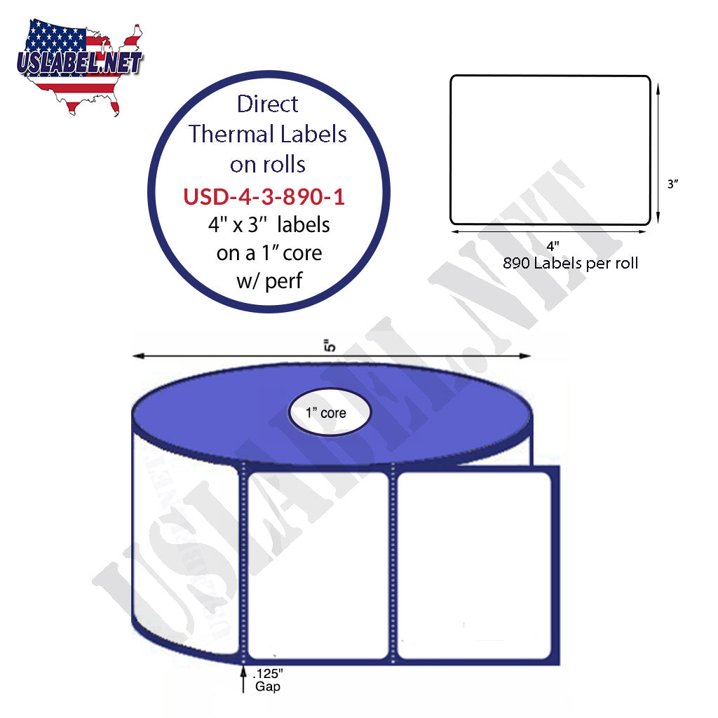 4'' x 3'' Premium Direct Thermal Labels 890 - 5'' O.D. on 1'' core 10,680 labels - uslabel.net - The Label Resource Center