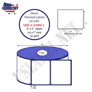 4'' x 3'' Direct Thermal Labels on a 1'' Core  - 5'' OD - uslabel.net  America's label store.