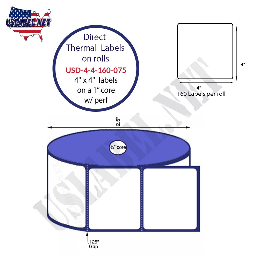 4'' x 4''-Zebra P4T Direct Thermal Labels 160-2.5'' O.D.on .75'' core 36 Rolls. - uslabel.net - The Label Resource Center