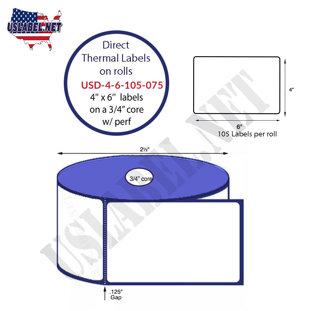 4''x6''-Zebra PT4 Direct Thermal Labels 105-2.5'' O.D. on a.75'' core 36 Rolls. - uslabel.net - The Label Resource Center