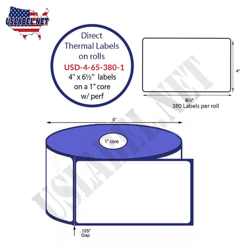 4'' x 6 1/2''Premium Direct Thermal Labels 380 on a 5''O.D. 1'' core 4560 labels