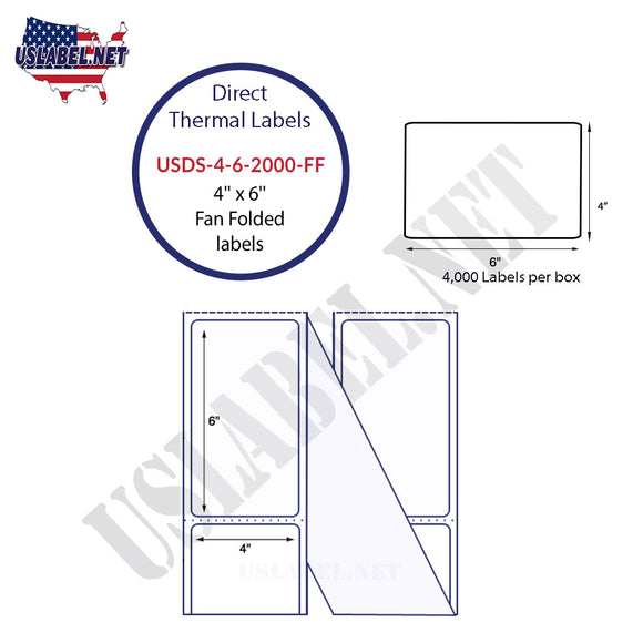 4'' x 6'' Direct Thermal Labels in a Fan Fold stack - uslabel.net  America's label store.