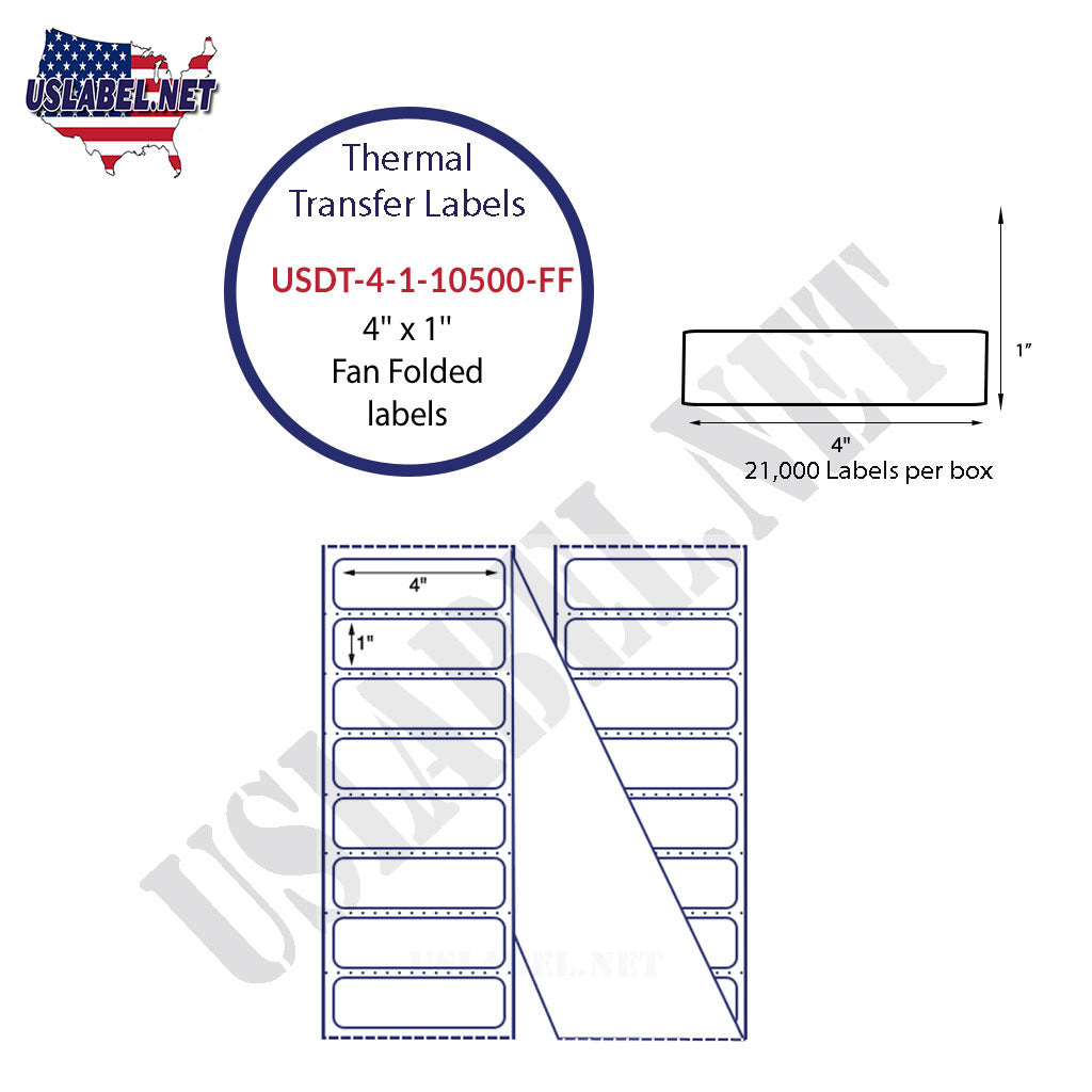 USDT-4-1-10500-FF - 4'' x 1''  Fan folded Labels 21,000 Labels in a Box.
