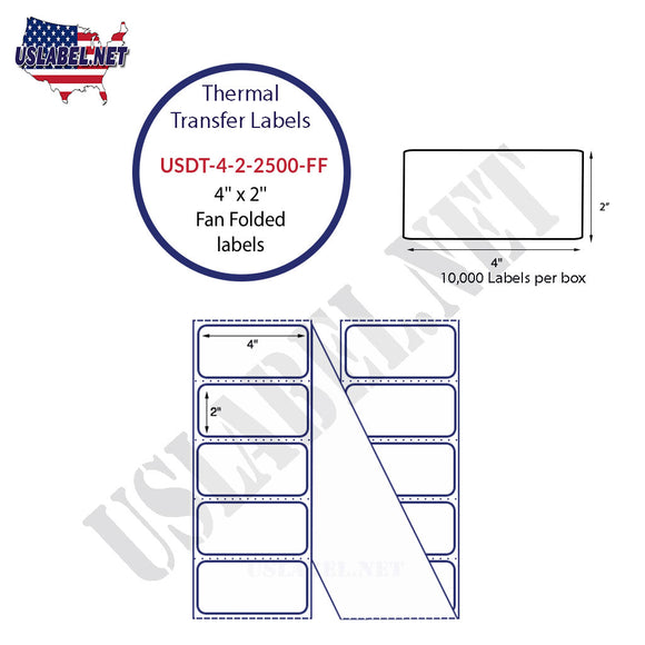 4'' x 2''   Thermal Transfer Labels in a Fan Fold Stack - uslabel.net  America's label store.