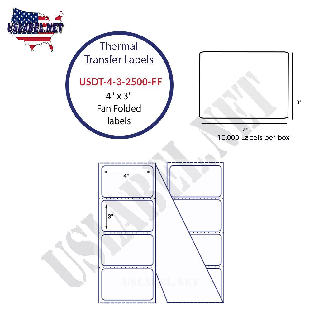 USDT-4-3-2500-FF - 4'' x 3''  Fan folded Labels 5,000 Labels in a Box.