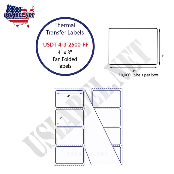 4'' x 3''   Thermal Transfer Labels in a Fan Fold Stack - uslabel.net  America's label store.