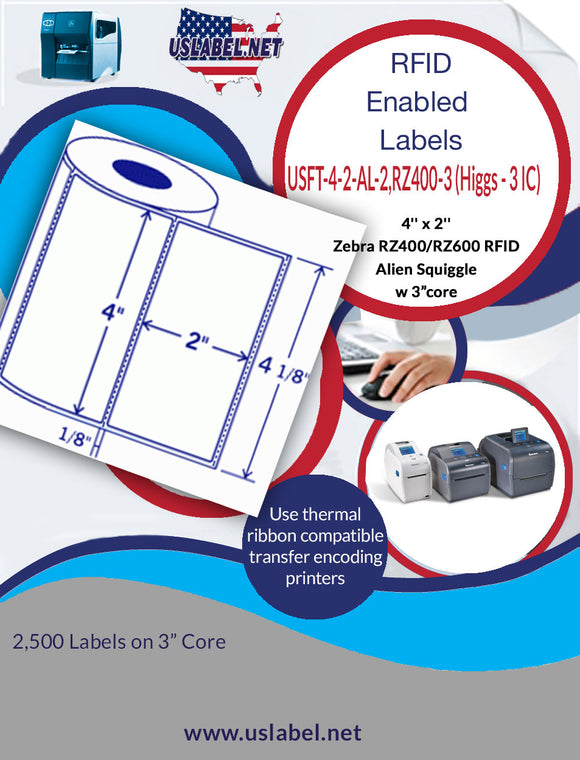 Zebra RZ400/600 RFID Alien Squiggle - 4'' x 2'' - 2500 Labels on a Roll with a 3'' core
